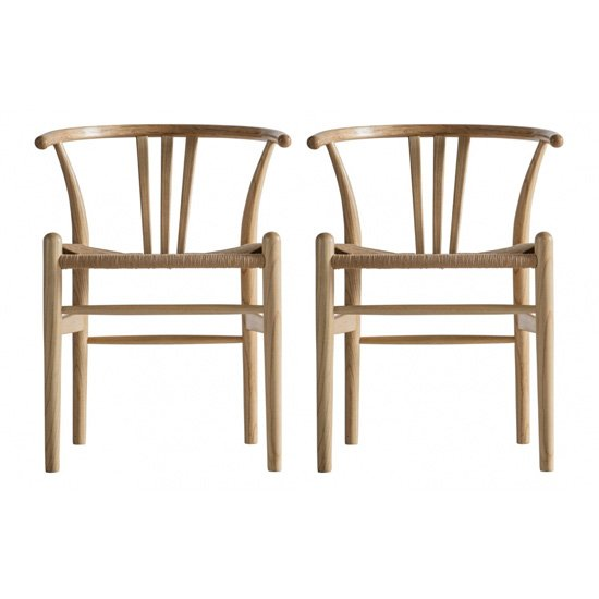 Whitley Natural Wooden Dining Chairs In Pair