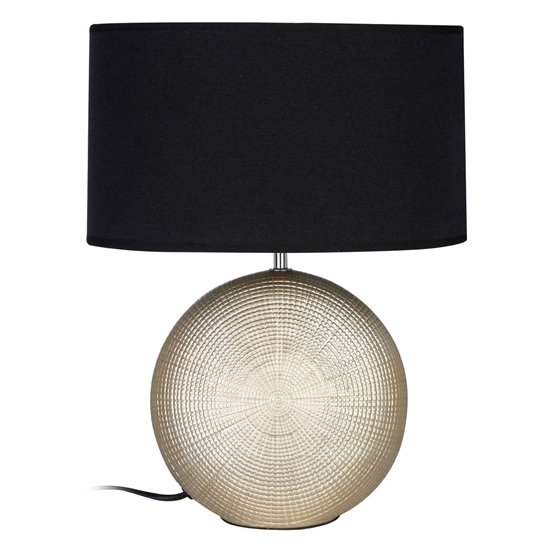 Product photograph showing Whoopty Black Fabric Shade Table Lamp With Gold Base
