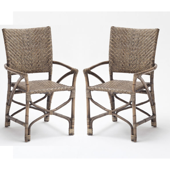 Wickers Countess Rustic Wooden Accent Chairs In Pair