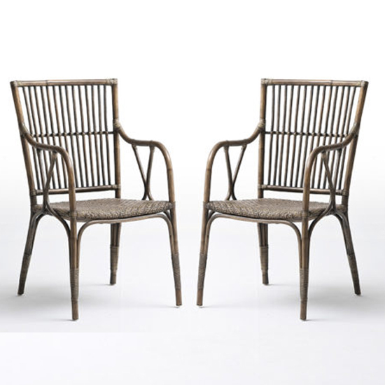 Wickers Duke Rustic Wooden Accent Chairs In Pair