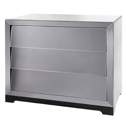 Slant Mirrored Glass Wide 3 Drawer Chest Of Drawers