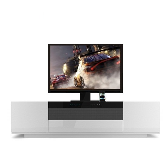 Tacoma Widescreen TV Stand In High Gloss White