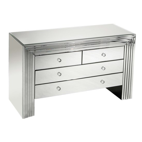 New Line Mirrored 4 Drawer Chest of Drawers