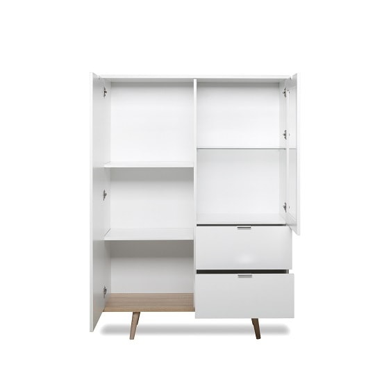 Wilcox Wooden Highboard In White And Sonoma Oak With 2 Doors_2