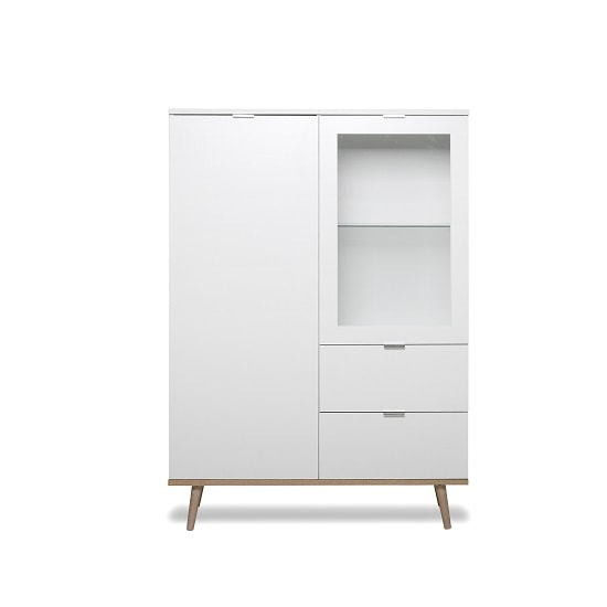 Wilcox Wooden Highboard In White And Sonoma Oak With 2 Doors_3