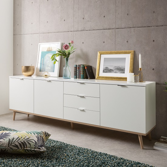 Wilcox Sideboard Large In White And Sonoma Oak With 3 Doors