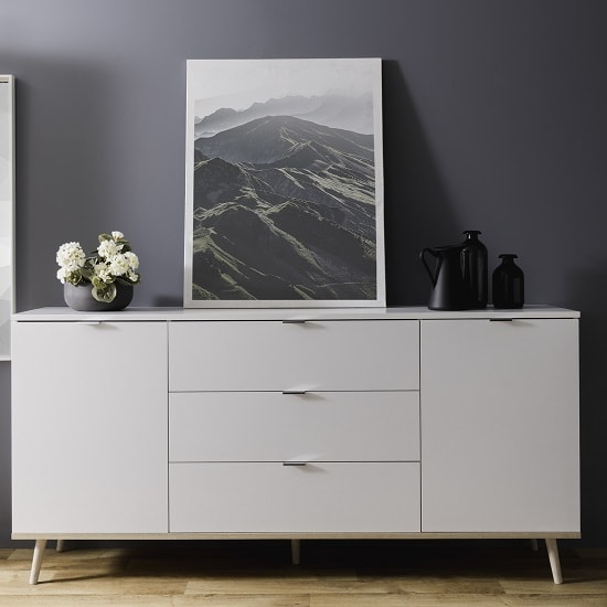 Wilcox Wooden Sideboard In White And Sonoma Oak With 2 Doors_1