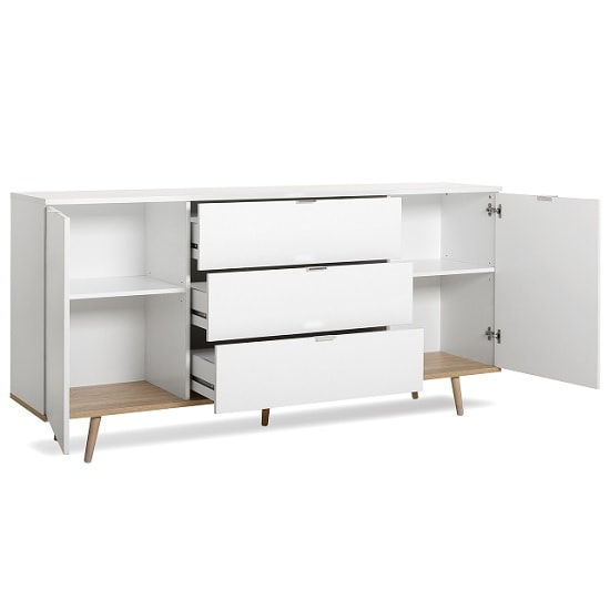 Wilcox Wooden Sideboard In White And Sonoma Oak With 2 Doors_2