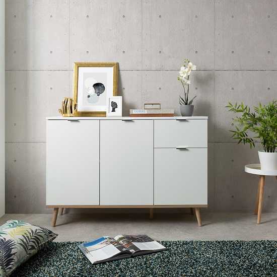 Wilcox Sideboard In White And Sonoma Oak With 3 Doors