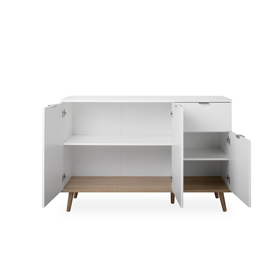 Wilcox Sideboard In White And Sonoma Oak With 3 Doors_2
