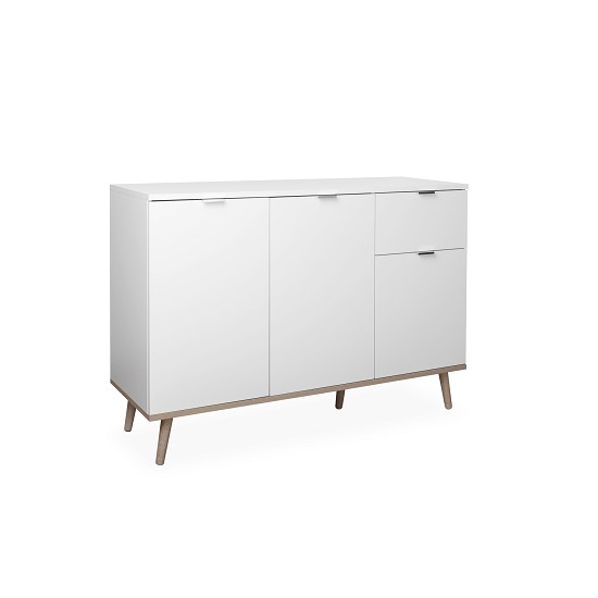 Wilcox Sideboard In White And Sonoma Oak With 3 Doors_3