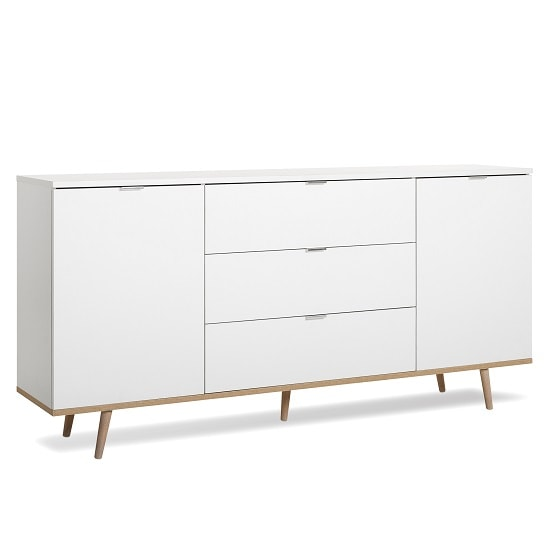 Wilcox Wooden Sideboard In White And Sonoma Oak With 2 Doors_3