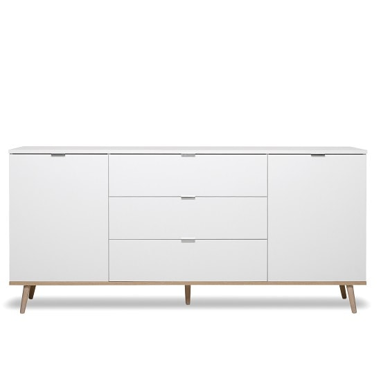 Wilcox Wooden Sideboard In White And Sonoma Oak With 2 Doors_4