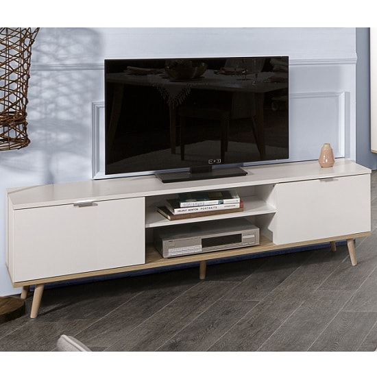 Wilcox Wooden TV Stand In White And Sonoma Oak With 2 Doors