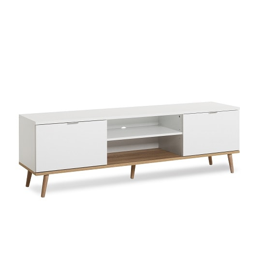 Wilcox Wooden TV Stand In White And Sonoma Oak With 2 Doors_3