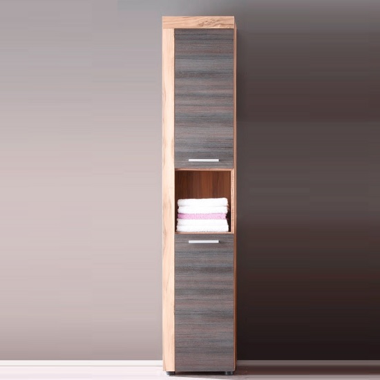 Wildon Tall Bathroom Cabinet In Walnut And Touch Wood Dark Brown