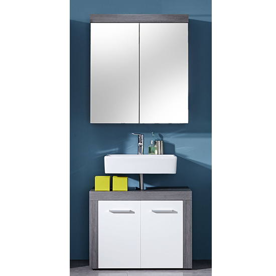 Wildon Bathroom Furniture Set 4 In White And Smoky Silver