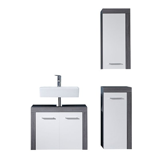 Wildon Bathroom Furniture Set 7 In White And Smoky Silver