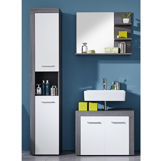 Wildon Bathroom Furniture Set 8 In White And Smoky Silver