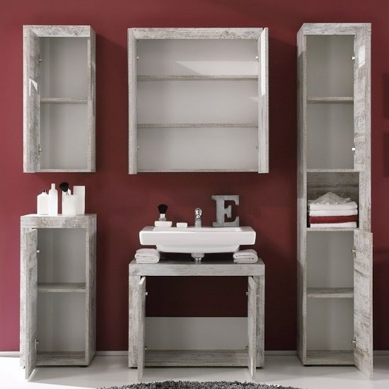 Wildon Mirror Bathroom Wall Cabinet In Canyon White Pine And LED_4