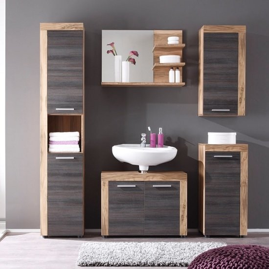View Wildon wooden bathroom furniture set in walnut and dark brown