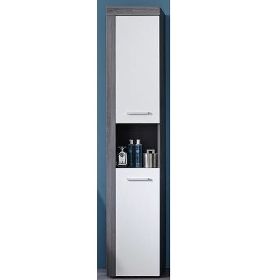 Wildon Bathroom Tall Storage Cabinet In White And Smoky Silver