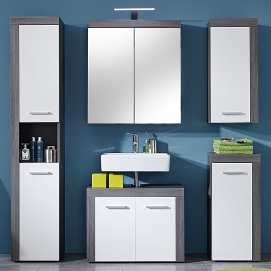 Wildon LED Bathroom Furniture Set 2 In White And Smoky Silver