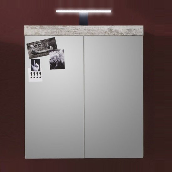 Wildon Mirror Bathroom Wall Cabinet In Canyon White Pine And LED_1