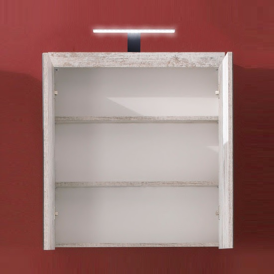 Wildon Mirror Bathroom Wall Cabinet In Canyon White Pine And LED_2