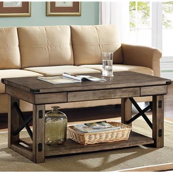Wildwood Wooden Veneer Coffee Table In Rustic Grey