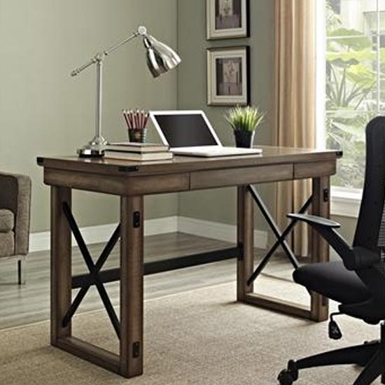 Wildwood Wooden Veneer Laptop Desk In Rustic Grey