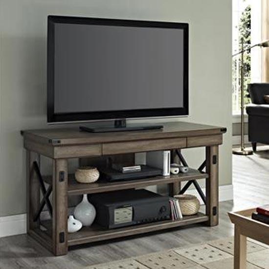 Wildwood Wooden Veneer Small TV Stand In Rustic Grey