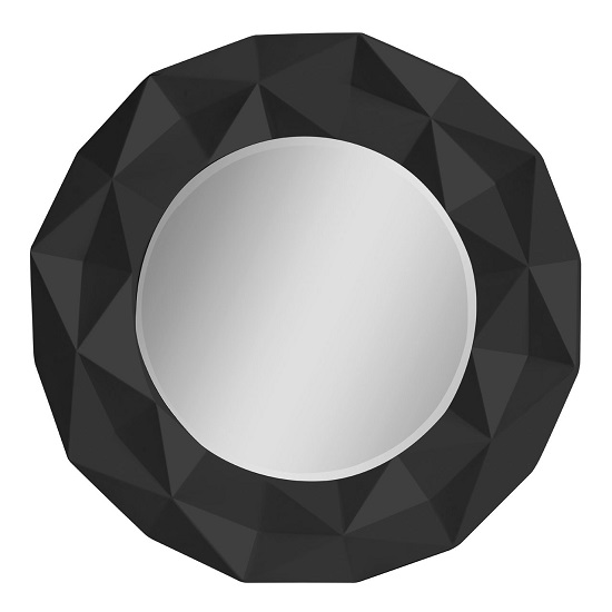 wilkinson wall mirror round in black hi gloss with 3d. Black Bedroom Furniture Sets. Home Design Ideas