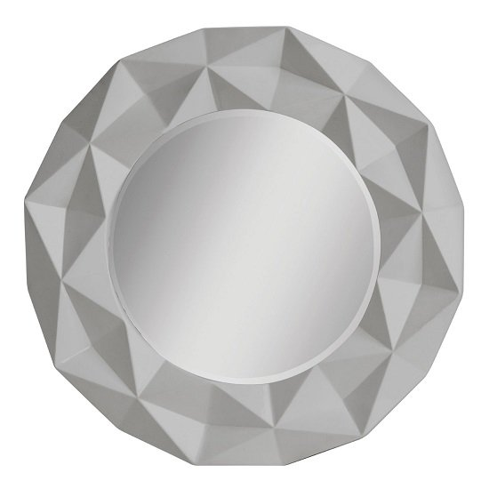 Wilkinson Wall Mirror Round In Grey Hi Gloss With 3D Effect