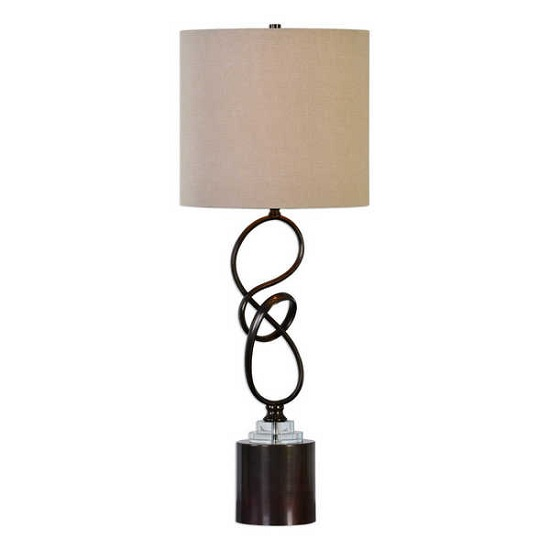 Wilko Table Lamp In Off White Linen And Dark Bronze Steel Base