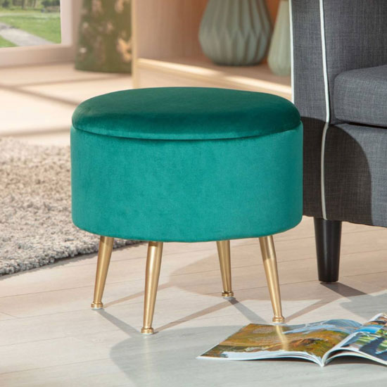 Willandra Fabric Storage Ottoman Stool In Green With Metal Legs