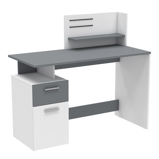 Willey Wooden Computer Desk In White And Graphite Grey