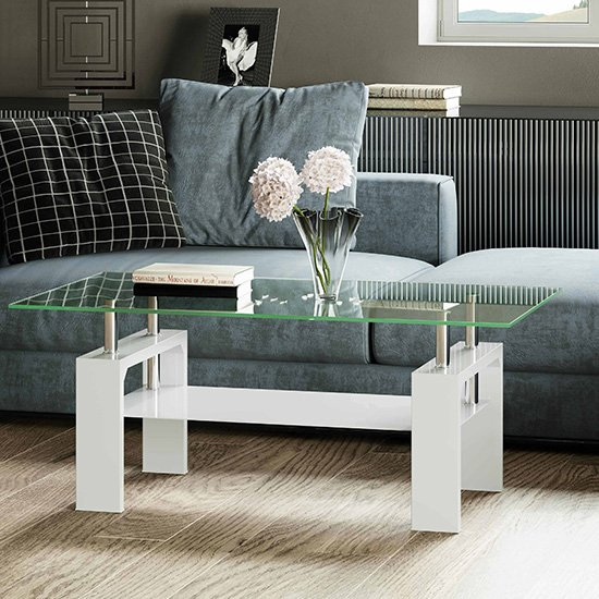 Willis Glass Coffee Table In Clear With White High Gloss Legs
