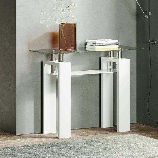 Willis Glass Console Table In Clear With White High Gloss Legs