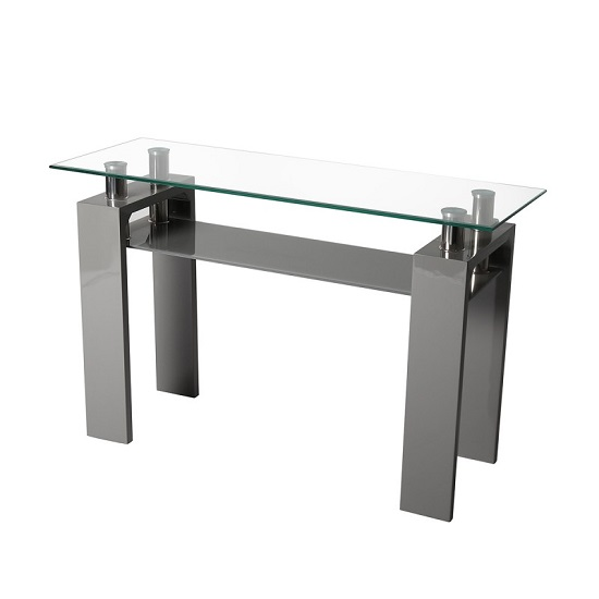 Willis Glass Console Table In Clear With Grey High Gloss Legs_1