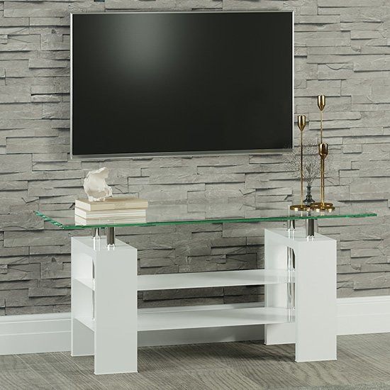 Willis Glass TV Stand In Clear With White High Gloss Legs