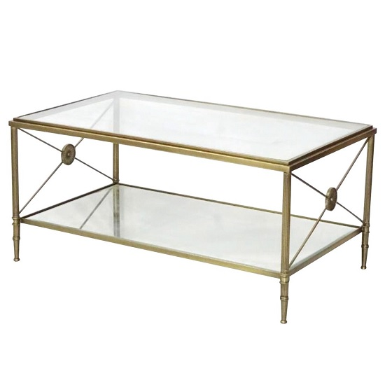 View Williston mirrored glass coffee table with metal legs