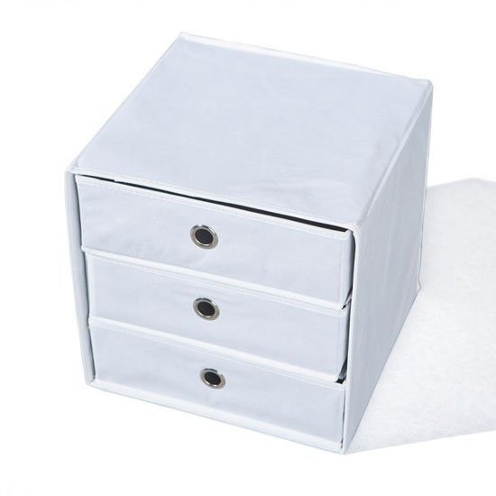 Willy Foldable Storage Box In White With 3 Drawers