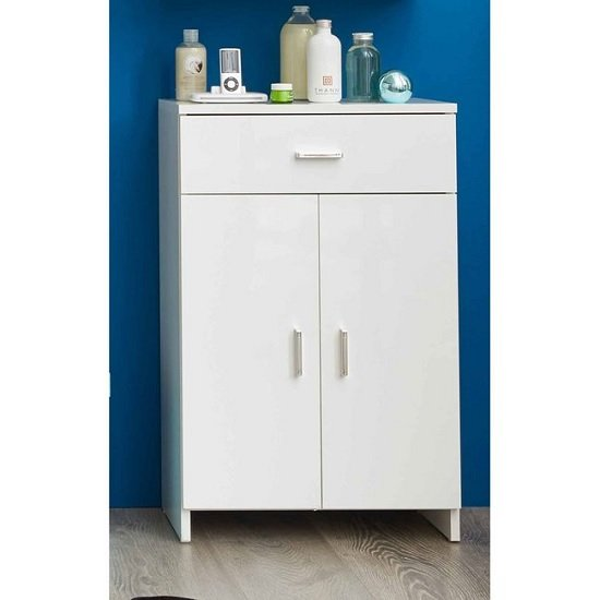 Wilmore Bathroom Cabinet In White With High Gloss Fronts