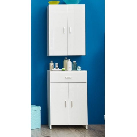 Wilmore Bathroom Cabinet In White With High Gloss Fronts_3