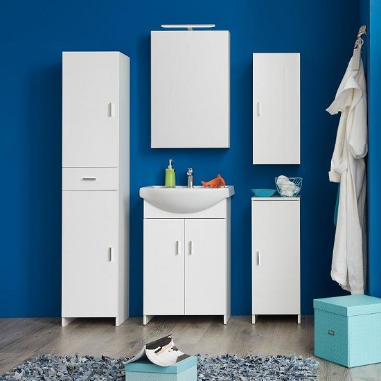 Wilmore Wall Mounted Mirrored Cabinet In White With LED_3