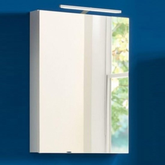 Wilmore Wall Mounted Mirrored Cabinet In White With LED