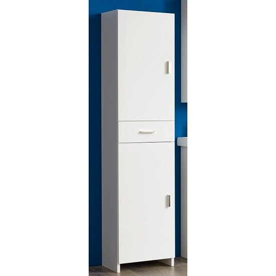 Wilmore Tall Bathroom Cabinet In White With High Gloss Fronts