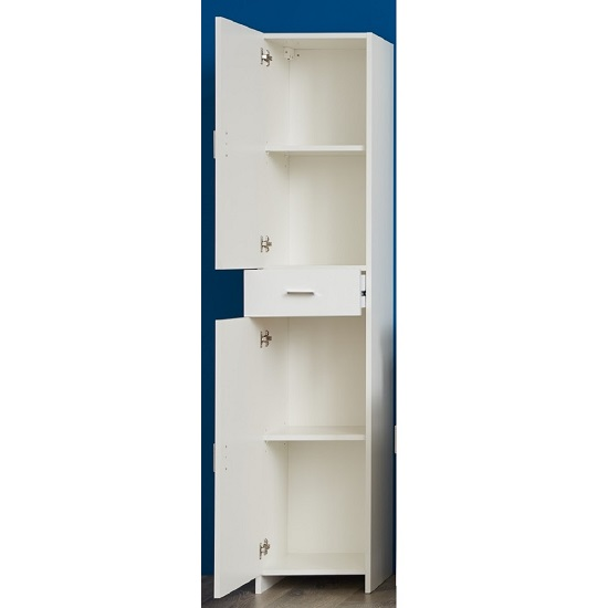 Wilmore Tall Bathroom Cabinet In White With High Gloss Fronts_2