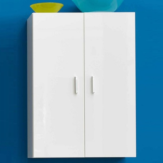 Wilmore Wall Bathroom Cabinet In White With High Gloss Fronts_1
